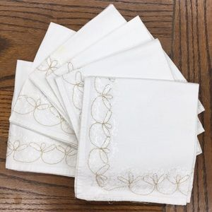 Other - Set of 8 silverware napkins with gold embroidery!
